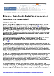 Employer Branding Studien Employer Branding in deutschen Unternehmen - Interview mit Gunther Wolf