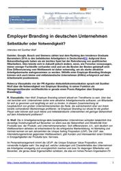 Employer Branding Studien Employer Branding in deutschen Unternehmen - Interview mit Gunther Wolf